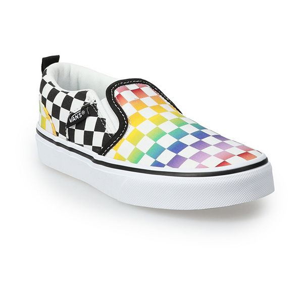 Vans® Asher Kids' Rainbow Checkered Skate Shoes