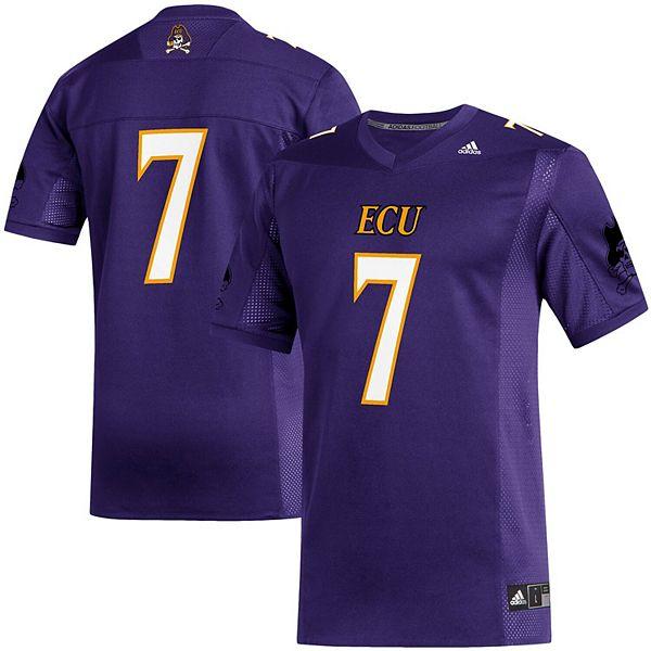 Men's adidas #7 Purple ECU Pirates Replica Football Team Jersey