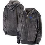 Women's Charcoal Air Force Falcons Low Key Luxe Hoodie Quarter-Zip Jacket