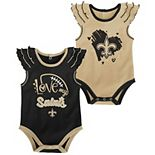 Girls Newborn Gold/Black New Orleans Saints Two-Pack Touchdown Bodysuit Set