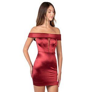 Juniors' B. Smart Off Shoulder Fitted Dress