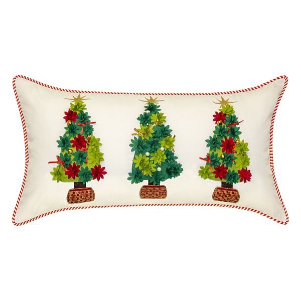 Edie At Home Holiday Potted Christmas Trees Indoor Outdoor Lumbar Throw Pillow