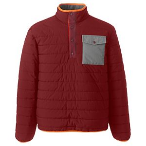 Big & Tall Lands' End Quilted Snap-Neck Pullover Jacket