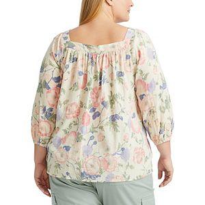 Plus Size Chaps Floral Peasant Top