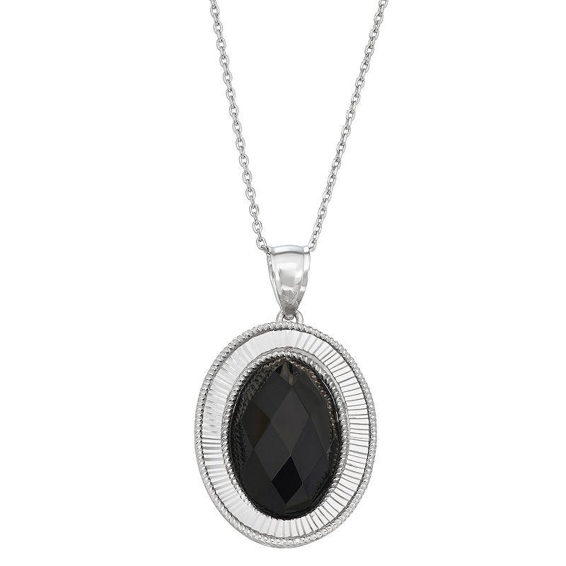 "Opulent Onyx Sterling Silver Onyx Oval Pendant Necklace, Women's, Size: 18"", Black"