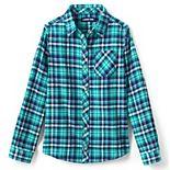 Girls 7-16 Lands' End Plaid Flannel Shirt in Regular & Plus Size