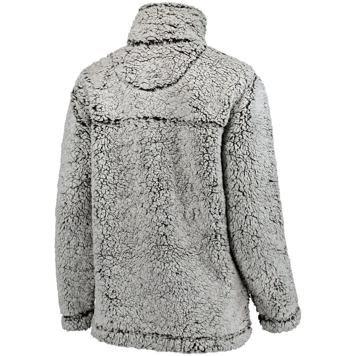 Women's Gray West Virginia Mountaineers Sherpa Super Soft Quarter-Zip Pullover Jacket 6URUO