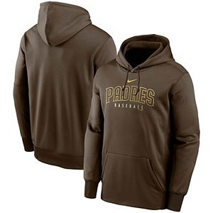 Men's Nike Brown San Diego Padres Outline Wordmark Fleece Performance Pullover Hoodie