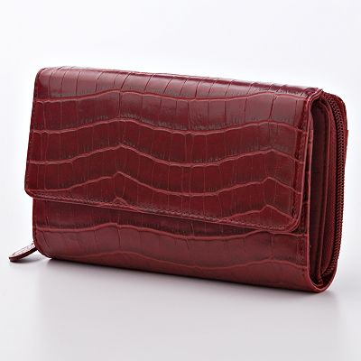 Croft and Barrow Faux-Crocodile Clutch Organizer