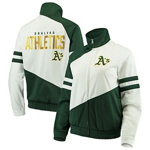 Women's G-III 4Her by Carl Banks Green/White Oakland Athletics Perfect Pitch Track Jacket