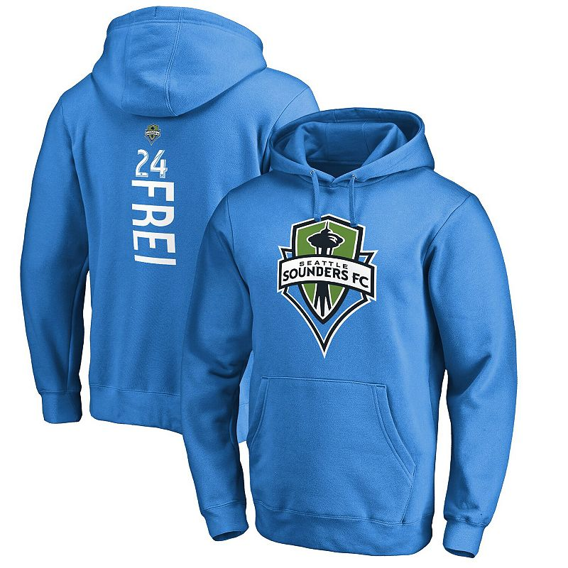 Men's Fanatics Branded Stefan Frei Blue Seattle Sounders FC Backer Name & Number Pullover Hoodie, Size: 4XL