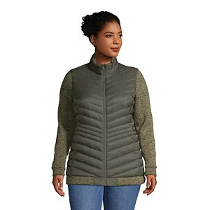 Plus Size Lands' End Ultralight Down Packable Sweater Fleece Jacket