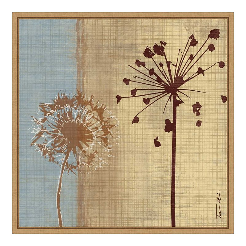 Amanti Art Silhouette In The Breeze III (Dandelion Flower) Framed Canvas Print, Brown, 16X16