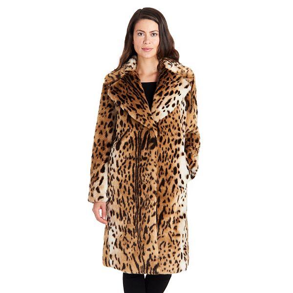 Women's Fleet Street Faux-Fur Leopard Print Coat