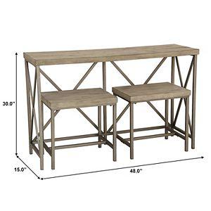 Homefare Industrial X-Back Sofa Table & Stool 3-pc. Set