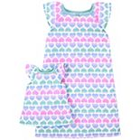 Girls 4-14 Carter's Hearts Nightgown & Matching Doll Gown Set