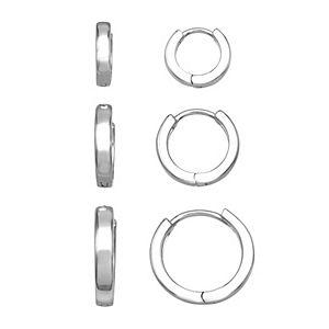 Aurielle 3 Pair Polished Huggie Hoop Earring Set