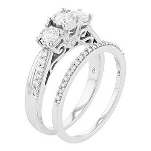 Lovemark 10k White Gold 5/8 Carat T.W. Diamond Bridal Ring Set