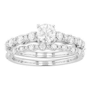 Lovemark 10k White Gold 1 1/4 Carat T.W. Diamond Bridal Ring Set