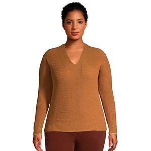 Plus Size Lands' End Drifter Shaker V-neck Sweater
