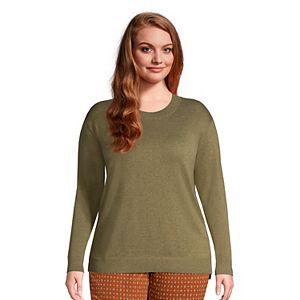 Plus Size Lands' End Lightweight Cotton Crewneck Sweater