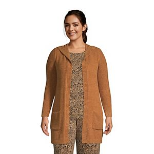 Plus Size Lands' End Lounge Hooded Open-Front Cardigan Sweater