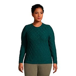 Plus Size Lands' End Textured Cable-Knit Rollneck Sweater