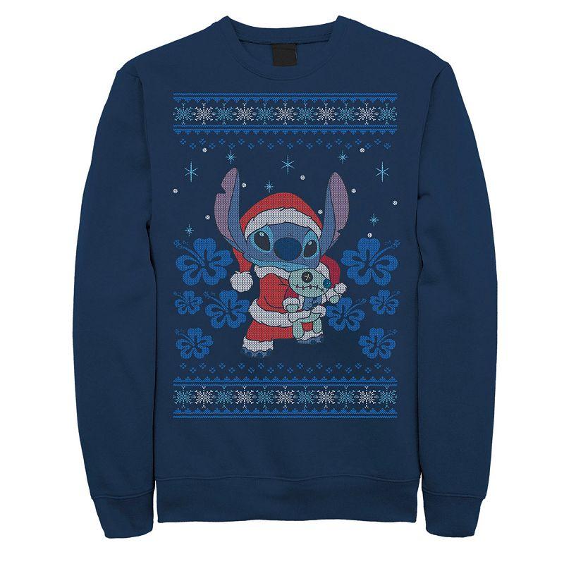 Men's Disney Lilo & Stitch Christmas Stitch Sweater Style Sweatshirt, Size: 3XL, Blue