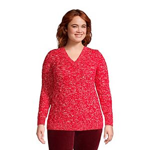 Plus Size Lands' End Drifter Cable Knit V-Neck Sweater
