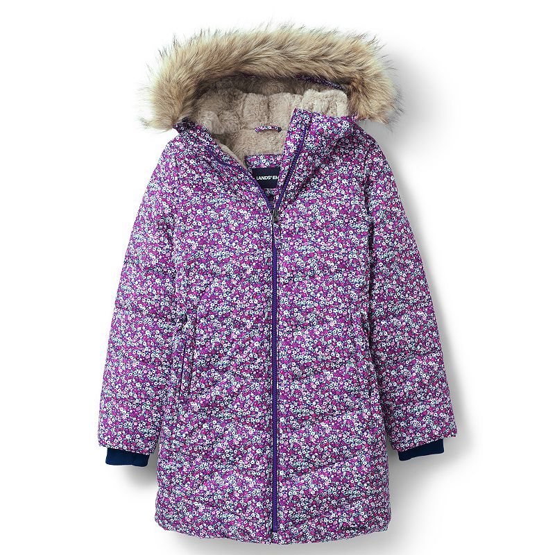 Girls 7-16 Lands' End Winter Fleece Lined Down Alternative ThermoPlume Coat, Girl's, Size: XL 16, Pink