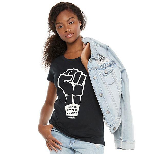 Young Women's Cream City Justice Respect Change Tee