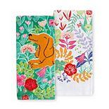 Celebrate Spring Together Dog in Flowers Kitchen Towel 2-pk.