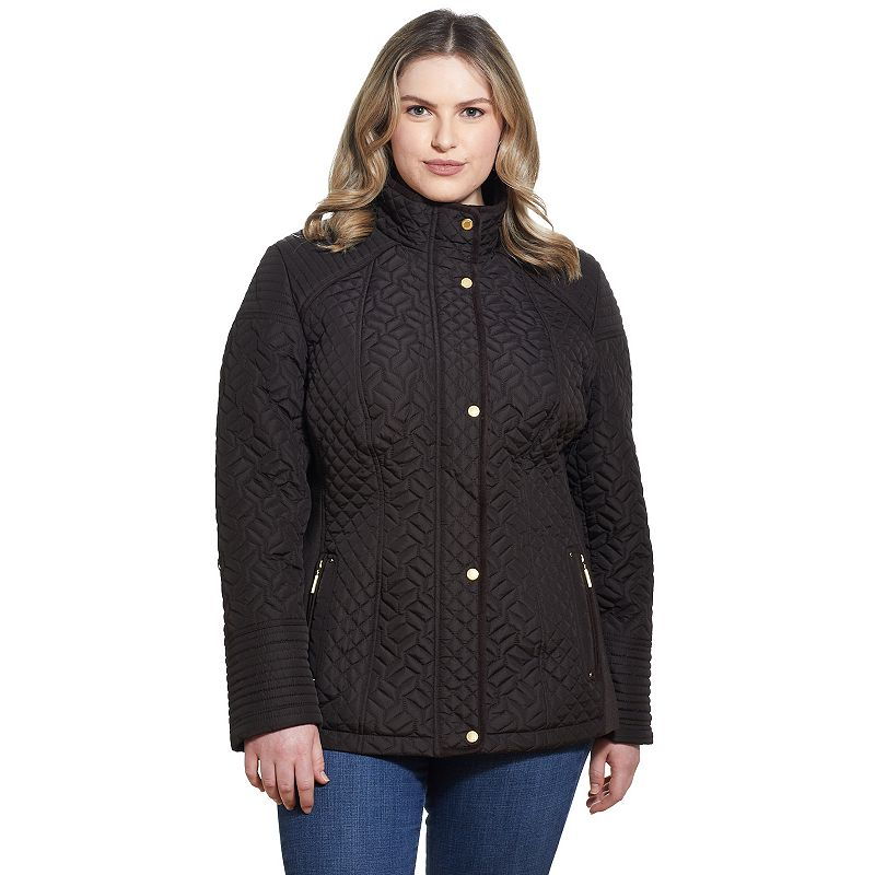 Women's Plus Size Weathercast Quilted Jacket with Side Stretch, Size: 3XL, Brown