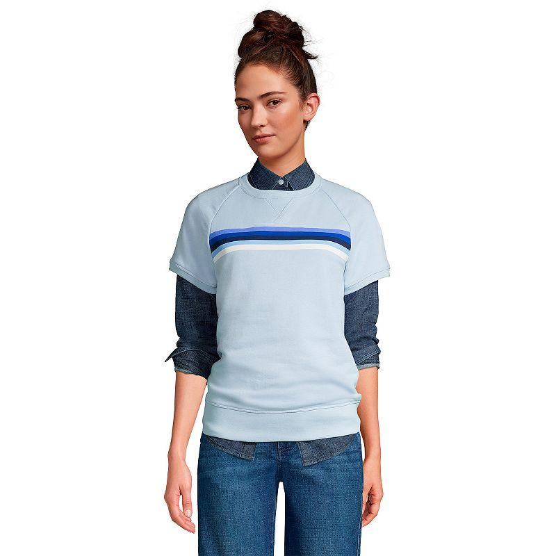 Women's Lands' End Serious Sweats Short-Sleeve Sweatshirt, Size: Small, Blue