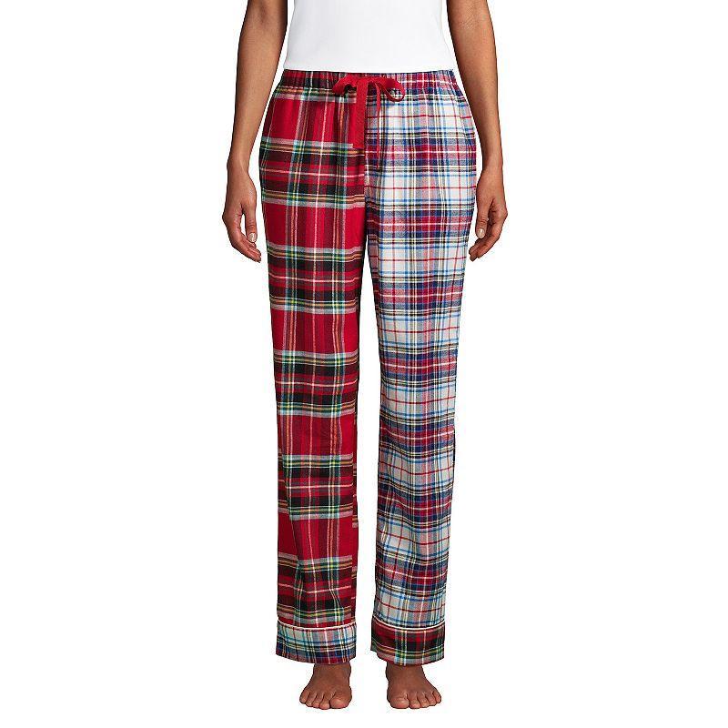 Petite Lands' End Women's Flannel Pajama Pants, Size: Medium Petite, Dark Red