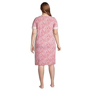 Plus Size Lands' End Brushed Back Short Sleeve Nightgown