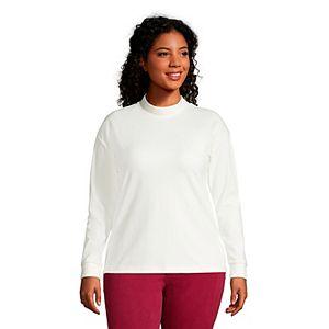 Plus Size Lands' End Sport Mockneck Velour Sweatshirt