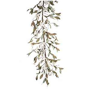 Melrose Artificial Cotton & Leaf Garland Table Decor 2-piece Set