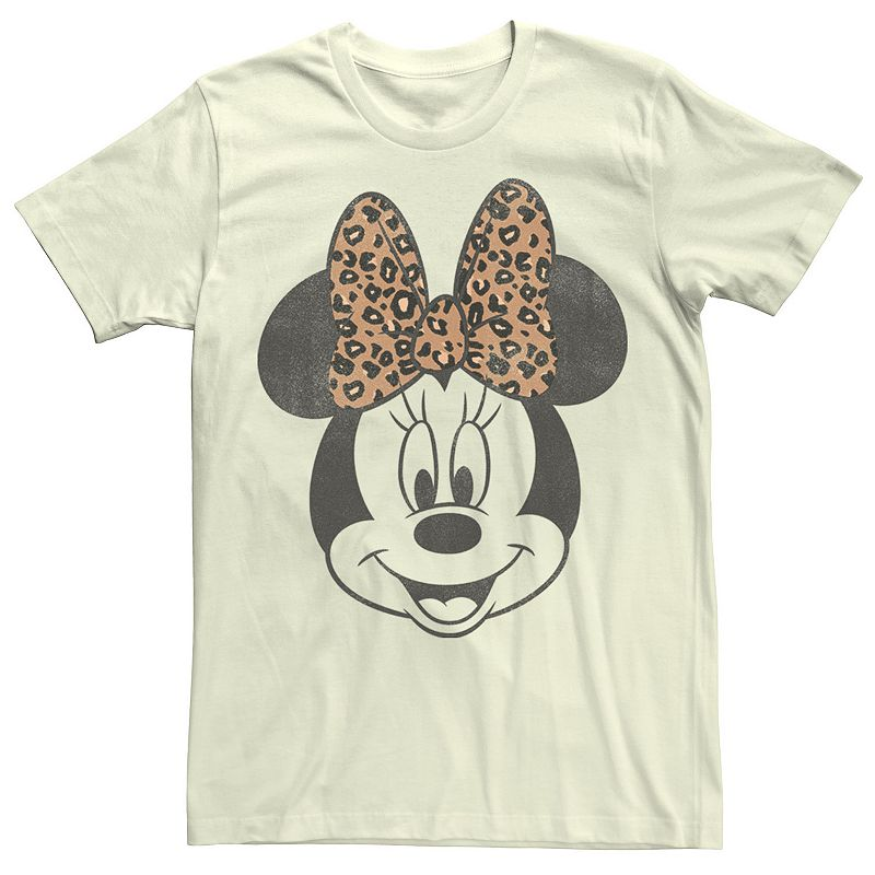 Men's Disney Minnie Mouse Leapord Print Bow Portrait Tee, Size: 3XL, Natural