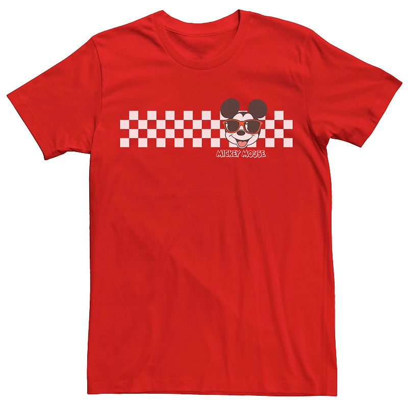 Men's Mickey Classic Mickey Checkers Patterns Tee, Size: Small, Red