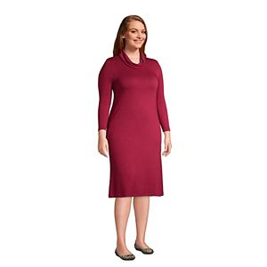 Plus Size Lands' End French Terry Cowlneck Sweaterdress
