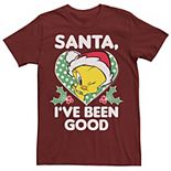 Men's Looney Tunes Christmas Tweety Santa I've Been Good Tee