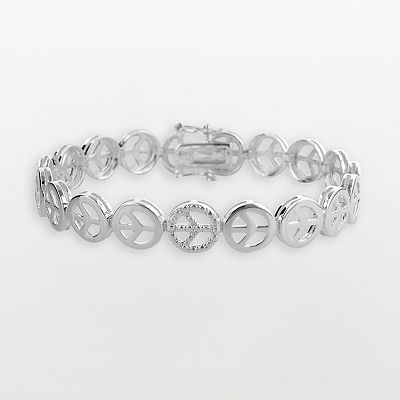 Sterling Silver Peace Sign Bracelet