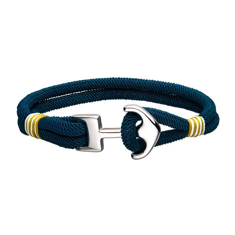 """""""Black Paracord Rope Anchor Clasp Bracelet. Men's. Size: 8"""""""". Multicolor"""""""