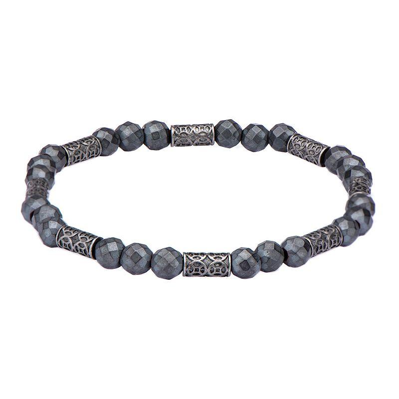 """""""Men's Stainless Steel & Hematite Beaded Bracelet. Size: 8.25"""""""". Grey"""""""