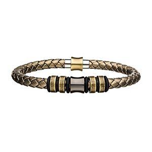 Men's Metallic Leather Beaded Bracelet