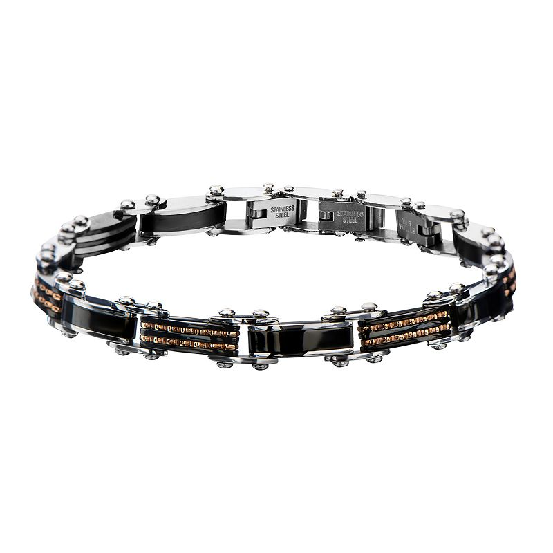 Men's Tri-Tone Stainless Steel Double Sided Bracelet, Size: 8""