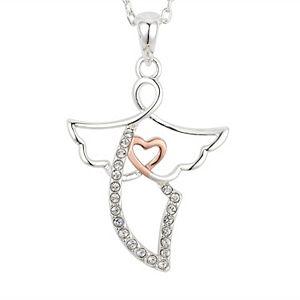 Brilliance Two Tone Angel Pendant with Swarovski Crystals