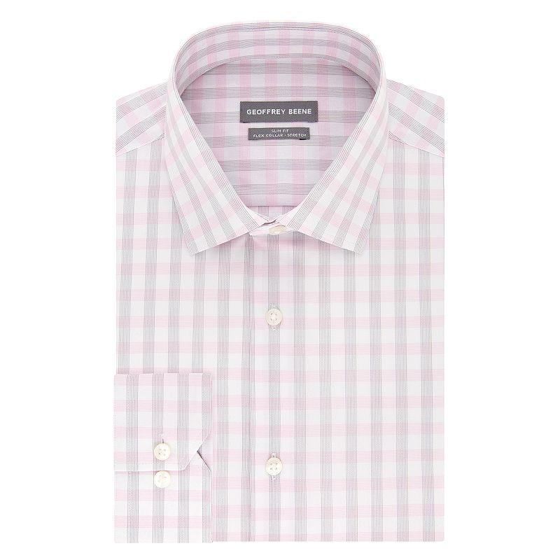 Men's Geoffrey Beene Slim-Fit Stretch Flex Spread-Collar Dress Shirt, Size: Medium 36/37, Light Pink