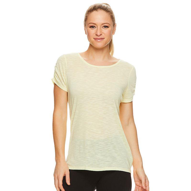 Women's Gaiam Zen Ruched Sleeve Tee, Size: XXL, Luminary Green Grey